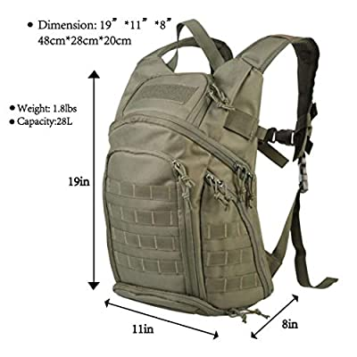 Hannibal Tactical Military Backpack Assault Pack MOLLE Bug Out Bag 28L Army Rucksacks for Outdoor Camping Hiking Hunting Olive