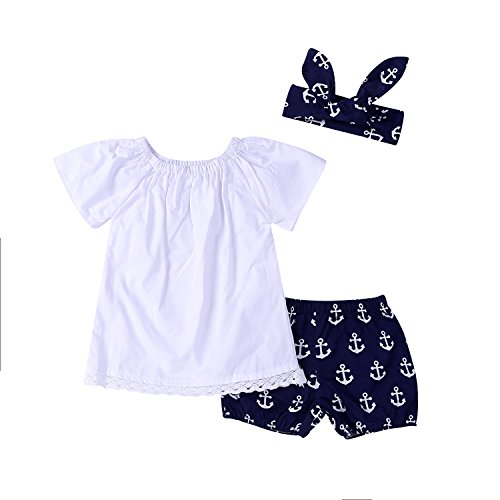 c0ec7404badb Galleon - 3Pcs Baby Girls Short Sleeve Lace Tops+Anchor Pants With ...