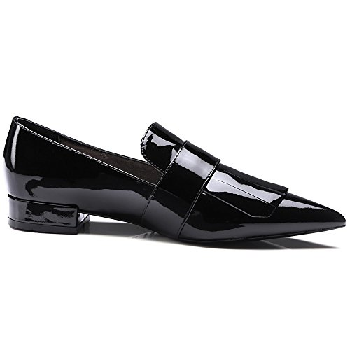 Neuf Sept En Cuir Verni Womens Bout Pointu Élégante Robe À La Main Appartements Chaussures Noires