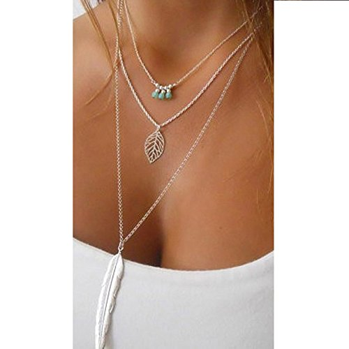 Usstore Women Lady M Pearl Beaded Leaves Feather Multilayer Irregular Pendant Chain Statement ()