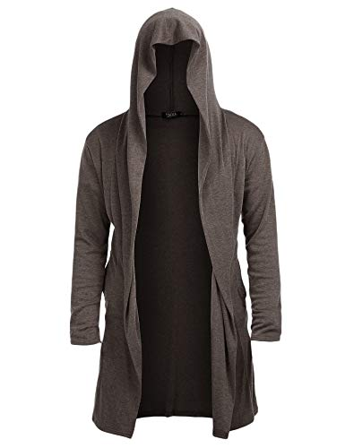 Mens Long Cardigan Open Front Draped Lightweight Hooded Sweater with Pockets Coffee