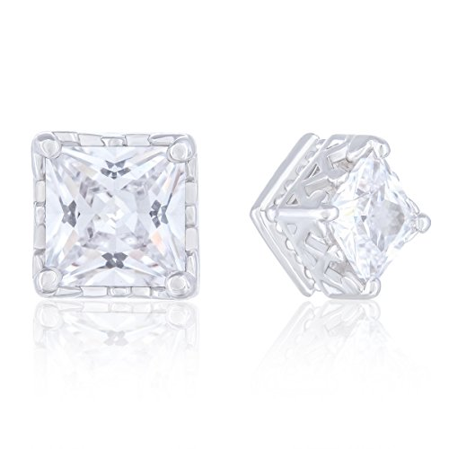 Orrous & Co. Legacy Collection Womens 18K White Gold Plated Cubic Zirconia Solitaire Square Cubic Stud Earrings, 2.00 Carats, One Size