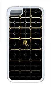 Gold Lattice Custom TPU Hard Plastic Case for iPhone 5C - White