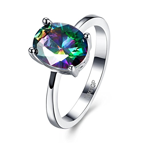 FENDINA White Gold Ring 18K Rainbow Square Cut Mystic Opal Jewelry Ring Wedding Engagement Bands For Women (7) (18k White Gold Ladies Ring)