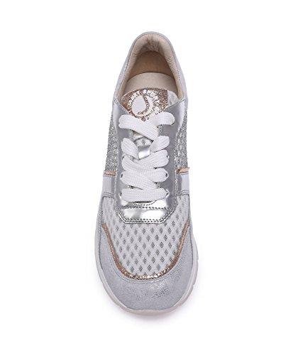 Janet Sneaker Sport 39725 running bianco Filiberta argento p5wf8q5O