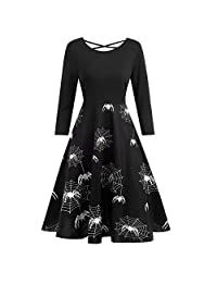 CieKen Clearance Long Sleeve Dress Women's Halloween Vintage Print Long Dress