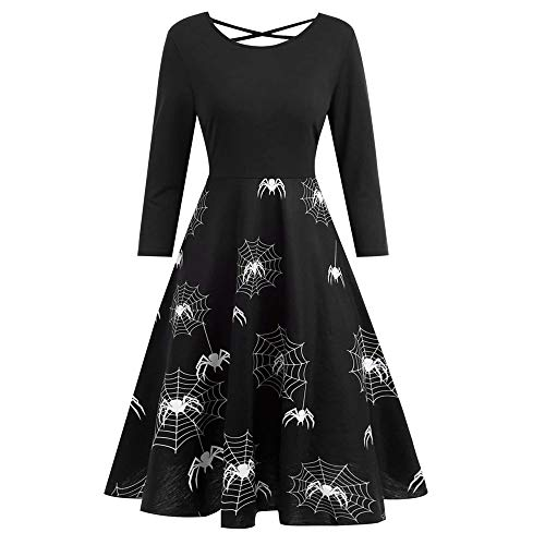 Women Christmas Dresses Halloween Spider Web Bandage Printed Gown Flare Evening Party Skirt Duseedik
