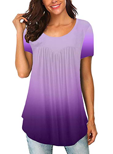ELF QUEEN Women's Summer Short Sleeve Tops Gradient Casual Loose Fit Shirts Swing Ruffle Flowy Blouse Purple X-Large -