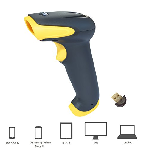 TaoHorse 2-in-1 USB Bluetooth Barcode Scanner Wired & Wireless Handheld Laser Bar-code Reader for POS PC Laptop Smartphone