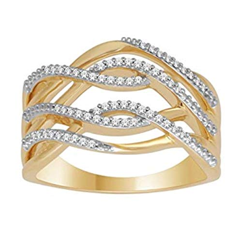 Statement Ring Diamond and Gold 10K Womens Wide Fashion Cocktail Ring Woven Pattern 0.15ctw