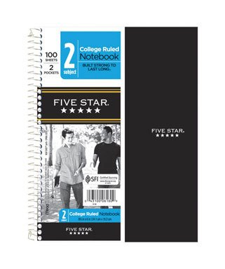 Five Star Wire Bound Notebook 9.5 In. X 6 In. Red
