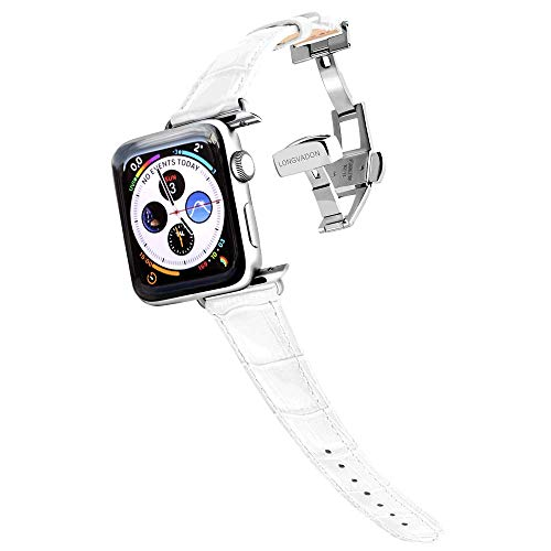 Longvadon Women's Caiman Series Watch Band - Compatible with Apple Watch Series 1, 2, 3 & 4 - Genuine Top Grain Leather (Snow White, Silver, 38/40 - XS) (Alligator Embossed Finish White)