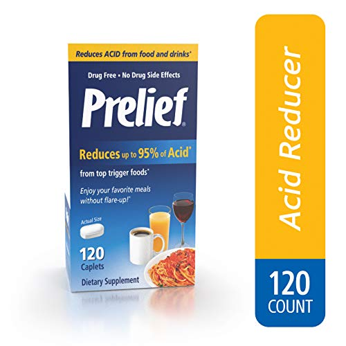 Prelief Acid Reducer Caplets 120 Count Dietary Supplement to reduce up to 95% of the acid in High-Acid Food and ()