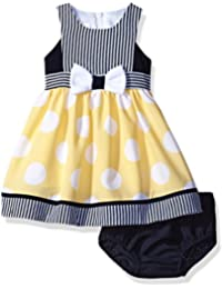 Baby Girls' Sleeveless Stripe and Dot Dress With Panty