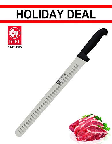 14-inch Blade Granton Edge, Turkey, Salmon, ham Slicer, Meat Slicing Knife. NSF Certified, German Steel,Knife sharpening instruction included, Best Knife to Slice Large Roast and Whole Turkey.
