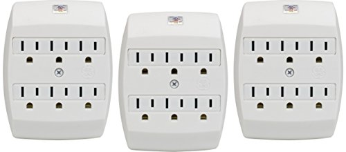 Value 3 Pack GE Grounded Adapter Six Outlet