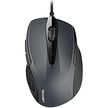 1e2c79a3552 TECKNET 6-Button USB Wired Mouse with Side Buttons, Optical Computer Mouse  with 1000/2000DPI, Ergonomic Design, 5ft Cord, Support Laptop Chromebook PC  ...