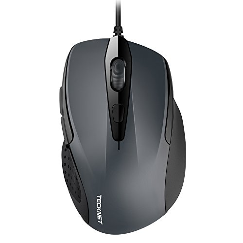TECKNET 6-Button USB Wired Mouse with Side Buttons, Optical Computer Mouse with 1000/2000DPI, Ergonomic Design, 5ft Cord, Support Laptop Chromebook PC Desktop Mac - Mouse Wheel Pc Optical