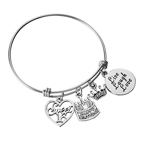 Miss Pink Stainless Steel Adjustable Wire Charm Bangle Sweet 16 Happy Birthday Jewelry 16th Birthday Gifts -