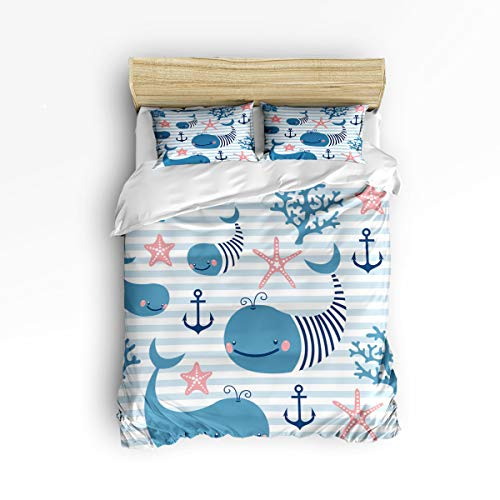 YEHO Art Gallery Anchor Whale Fish Blue and White Stripe 3 Piece Duvet Cover Set Beddding Set,Twin Size Luxury Soft Bed Set Bedroom Home Decor,Include 1 Comforter Cover with 2 Pillow Cases