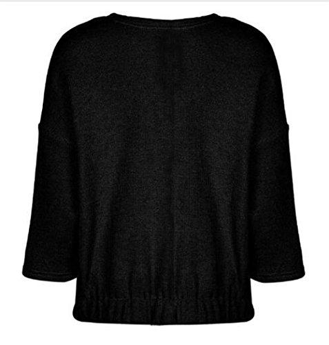 negro Corto Chaquetas Mantener Clasicos Caliente Color Mujer SÓLido Jacket De Top BESTHOO Outwear Punto Abrigos Manga Larga Ocasionales Chaquetas O76xqSUwP