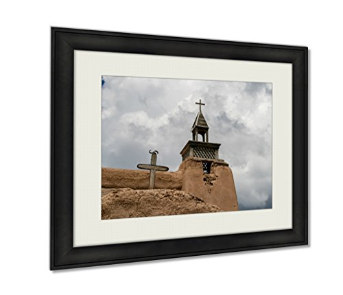 Ashley Framed Prints, San Jose De Gracia Church In Las Trampas New Mexico Wall Art Decor Giclee Photo Print In Black Wood Frame, Soft White Matte, Ready to hang, 16x20 Art by Ashley Framed Prints