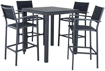 Azuma Marbella - Juego de muebles de jardín con mesa alta y 4 taburetes de metal negro para exteriores, patio, terraza, cena, desayuno, comedor, barbacoa, bebidas, alimentos, fiesta, verano, amigos, familia: Amazon.es: