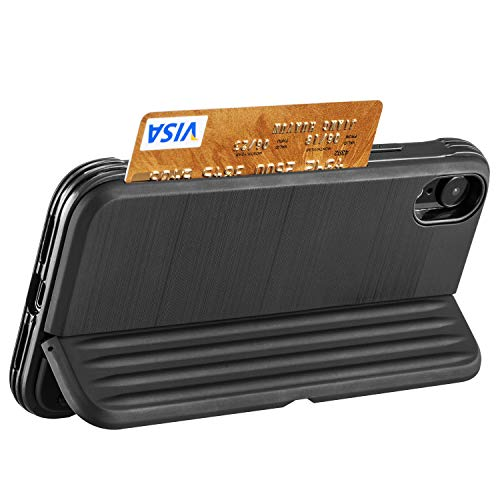 iPhone XR Case, iPhone XR Wallet Case,FLYEE Slim Kickstand Wallet Card Holder Phone Case with 1 Cards Slot Cover Credit Card Holder for iPhone XR 6.1 inch Black