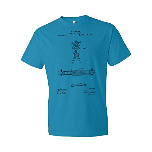 Surveyors Transit T-Shirt, Transit Patent, Surveyor Shirt, Surveyor Gift, Theodolite, Engineer Gift, Civil Engineering Caribbean Blue (Small)