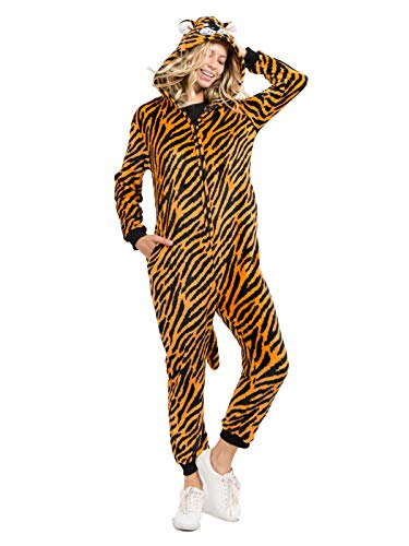 Yelete Plush Tiger Animal Adult Jumpsuit Pajama Costume, L/XL