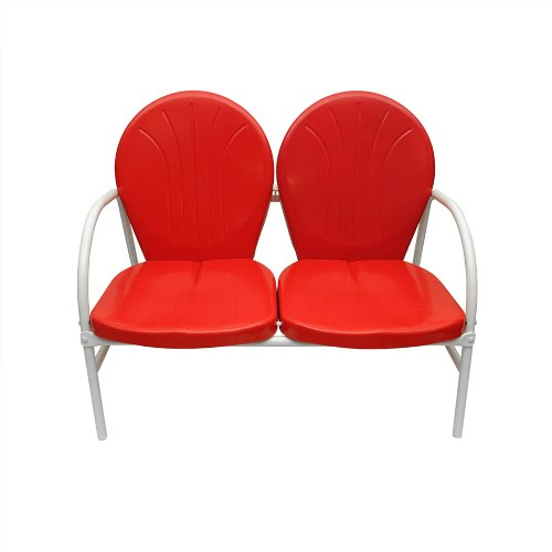 Rich Pacific Vibrant Red and White Retro Metal Tulip 2-Seat Double Chair