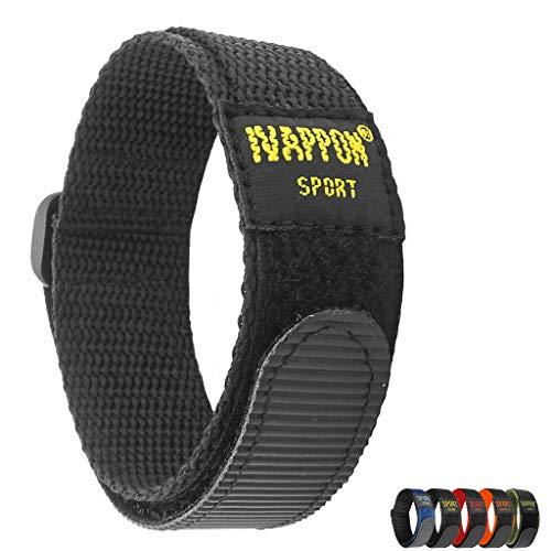 IVAPPON Hook Loop Sport Watch Strap 18mm 20mm Nylon Straps Black Blue Fastening Watchband (18mm, Black(Black Plastic Buckle))