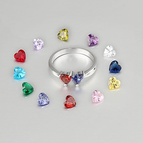 Love Jewelry Personalized Mother Rings with 2 Heart Simulated Birthstones Custom Engagement Ring Promise Rings for Her (7) by Love Jewelry (Image #4)