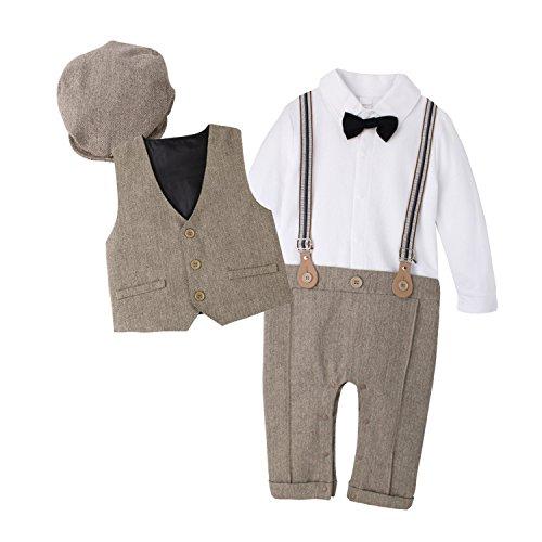 Baby Boys Gentlemen Bowknot Rompers Long Sleeve Bodysuit - 2
