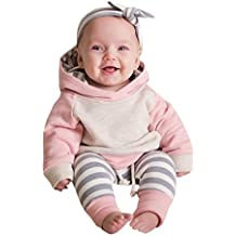 Sharemen Baby Boy Girl Long Sleeve Hoodie Tops Sweatsuit Pants Headband Outfit Set