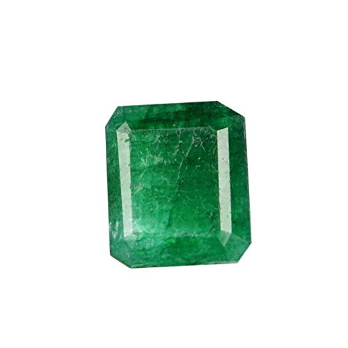 gemhub EGL Certified 8.15 Carat 13 x 11 mm Natural Brilliant Emerald Cut Green Emerald Loose Gemstone for Ring