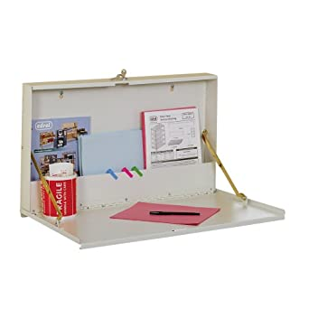 "Edsal WDMB20047 16 Gauge Steel Service Writer Wall Desk, 27"" Width x 18"" Height x 4"" Depth, Putty"