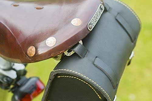 London Craftwork Classic Square Saddle//Handlebar Bicycle Bag Genuine Leather BLACK//YELLOW For Bike Tools BOX-BL//YE