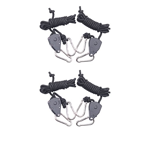 2-Pairs Zazzy 1/8 inch Adjustable Grow Light Hangers Rope Clip Hanger Ratchet for Growing Tent