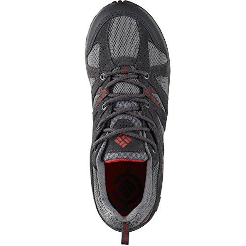 Sneakers Da Escursione In Suede Grande Da Donna In Camoscio Columbia Grigio Chiaro, Rosso Papavero