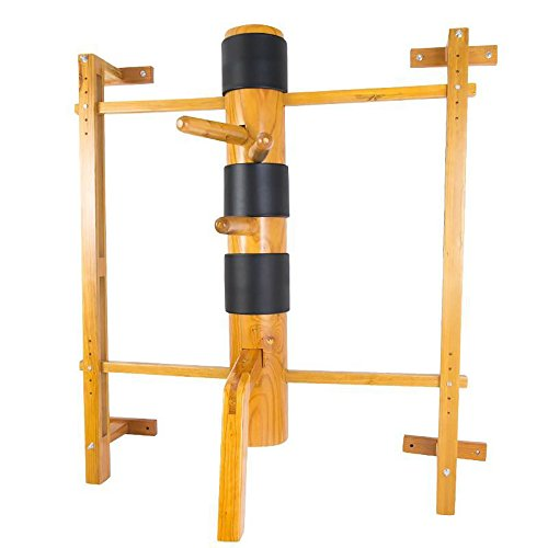 Wing Chun Wooden Dummy Mook Yan Jong - Traditional IP Man Solid Wooden Dummy with Adjustable Wall Mounted Stand M011