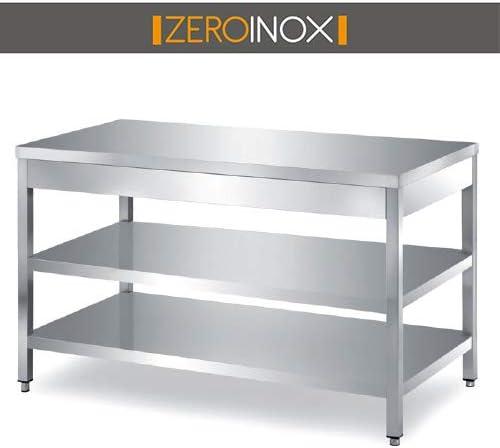 ZeroInox Mesa de Acero Inoxidable con 2 estantes – Todas Las ...