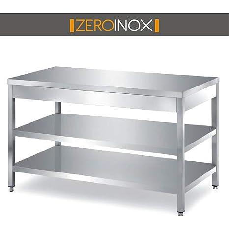 ZeroInox Mesa de Acero Inoxidable con 2 estantes - Todas Las ...