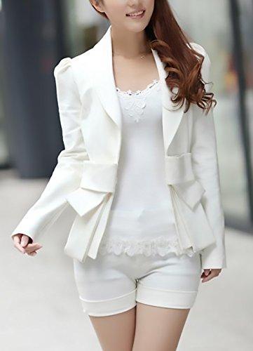 A Corto Lunga Manica Festivo Bianco Tailleur Giacca Da Party Bianca Grazioso Con Bavero Camicia Stlie Fit Slim Cravatta Moda Autunno Donna Eleganti Giacche Ufficio Cappotto Blazer Farfalla Fashion YSnqxwfn