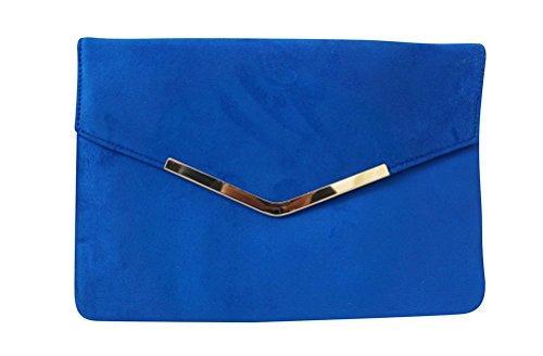 Chicastic Suede Envelope Clutch Purse - Royal (Blue Clutch Handbag)