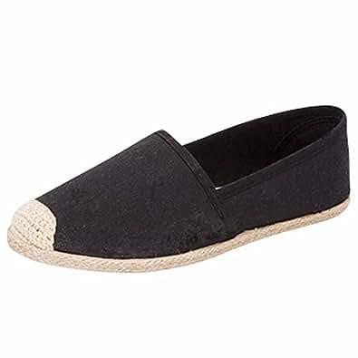 Top Moda Doris-3 Canvas Espadrille Women's Flat Loafer ,Black, 7M
