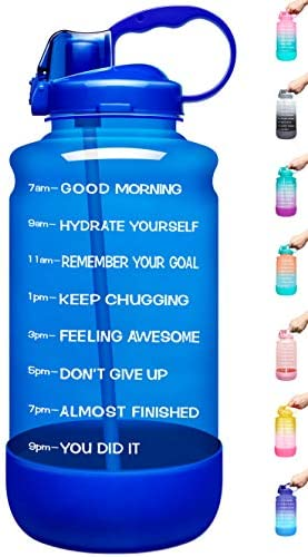 BPA Free Anti-slip Leakproof for Fitness Gym and Outdoor Sports Elvira Large 1 Gallon//128 oz Motivational Time Marker Water Bottle with Straw /& Protective Silicone Boot