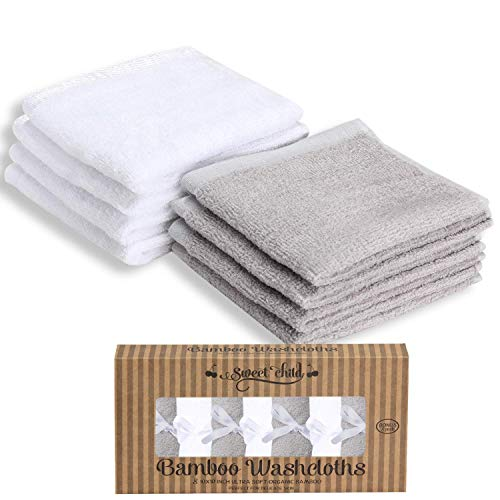 SWEET CHILD Bamboo Baby Washcloths (Bonus 8-Pack) - Premium Extra Soft & Absorbent Towels for Baby's Sensitive Skin-Perfect 10