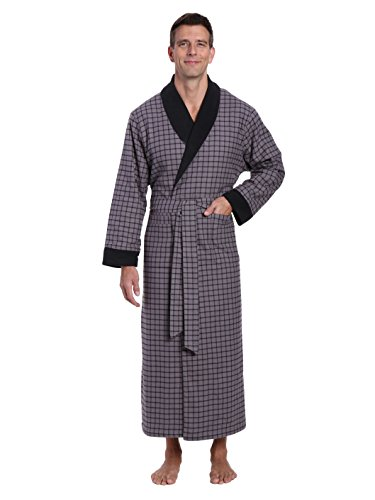 Noble Mount Men's Flannel Fleece Lined Robe - Checks Charcoal-Black - -