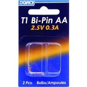 Dorcy 41-1672 AA - 2.4V 430 mA T-1 Bi Pin Replacement Bulb, 2-Pack